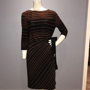 Taylor brown / black striped dress